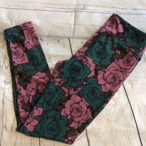 Lularoe Rose Print Green Pink One Size Leggings